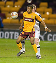 ::  MOTHERWELL'S CHRIS HUMPHREY HOLDS OFF DUNDEE UTD'S PAUL DIXON ::.06/04/2011 sct_jsp_008_motherwell_v_dundee_utd     .Copyright  Pic : James Stewart.James Stewart Photography 19 Carronlea Drive, Falkirk. FK2 8DN      Vat Reg No. 607 6932 25.Telephone      : +44 (0)1324 570291 .Mobile              : +44 (0)7721 416997.E-mail  :  jim@jspa.co.uk.If you require further information then contact Jim Stewart on any of the numbers above.........