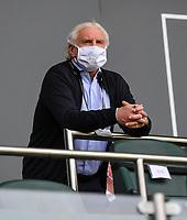 23rd May 2020, BORUSSIA-PARK, North Rhine-Westphalia, Germany; Bundesliga football, Borussia Moenchengladbach versus Bayer Leverkusen; Rudi Völler (Leverkusen) watches the match wearing a face mask