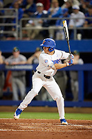 Florida Gators second baseman Blake Reese (12) at bat during a game against the Siena Saints on February 16, 2018 at Alfred A. McKethan Stadium in Gainesville, Florida.  Florida defeated Siena 7-1.  (Mike Janes/Four Seam Images)