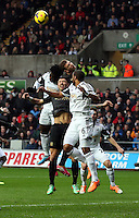 Wednesday, 01 January 2014<br /> Pictured: Wilfried Bony (L), Ashley Williams (R).<br /> Re: Barclay's Premier League, Swansea City FC v Manchester City at the Liberty Stadium, south Wales.