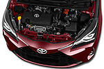 Car stock 2018 Toyota Yaris Two tone 5 Door Hatchback engine high angle detail view