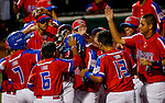 ABERDEEN, MD - AUGUST 04: Puerto Rico celebrating after Lucas Torres #11 of Puerto Rico hits a home run in a semifinal game between Puerto Rico and Mexico during the Cal Ripken World Series at The Ripken Experience Powered by Under Armour on August 4, 2016 in Aberdeen, Maryland. (Photo by Ripken Baseball/Eclipse Sportswire/Getty Images)