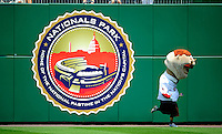 4 July 2009: Washington Nationals' Mascot Teddy Roosevelt runs in the outfield during the Presidents Race at Nationals Park in Washington, DC. The Nationals defeated the Braves 5-3 to take the second game of the 3-game weekend series. Mandatory Credit: Ed Wolfstein Photo