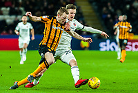 Sheffield United's midfielder Lee Evans (20) tackles Hull City's midfielder Seb Larsson (16) during the Sky Bet Championship match between Hull City and Sheff United at the KC Stadium, Kingston upon Hull, England on 23 February 2018. Photo by Stephen Buckley / PRiME Media Images.