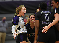 Fayetteville Gracyn Spresser (7) reacts, Thursday, September 10, 2020 during a volleyball game at Fayetteville High School in Fayetteville. Check out nwaonline.com/200911Daily/ for today's photo gallery. <br /> (NWA Democrat-Gazette/Charlie Kaijo)