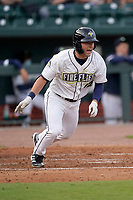 Right fielder Tucker Bradley (12) of the Charleston RiverDogs in a game against the Columbia Fireflies on Tuesday, May 11, 2021, at Segra Park in Columbia, South Carolina. (Tom Priddy/Four Seam Images)