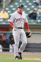 April 30th 2008:  Chris Carter (5) of the Pawtucket Red Sox, Class-AAA affiliate of the Boston Red Sox, walks off the field from coaching first base during a game at Frontier Field  in Rochester, NY.  Photo by Mike Janes/Four Seam Images