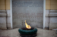The Eternal Flame memorial to the military and civilian victims of the Second World War in Sarajevo, Bosnia and Herzegovina.