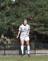 Boston College forward Hayley Dowd (27) heads the ball. Virginia Tech (maroon) defeated Boston College (white), 1-0, at Newton Soccer Field, on September 22, 2013.