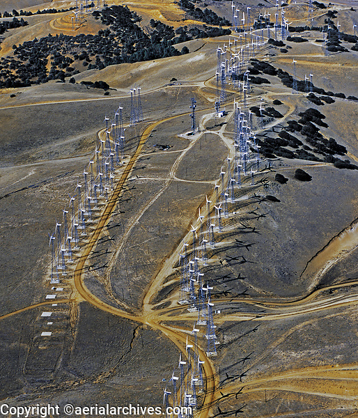 aerial photograph of wind farm, Tehachapi, Kern County, California