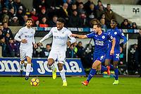 Leroy Fer of Swansea City moves the ball forwards during the Premier League match between Swansea City and Leicester City at The Liberty Stadium, Swansea, Wales, UK. Sunday 12 February 2017