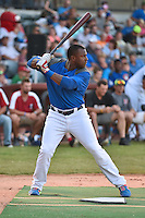 Chattanooga Lookouts first baseman O'Koyea Dickson #7 awaits a pitch during the Southern League Home Run Derby at Engel Stadium on June 16, 2014 in Chattanooga, Tennessee.  (Tony Farlow/Four Seam Images)