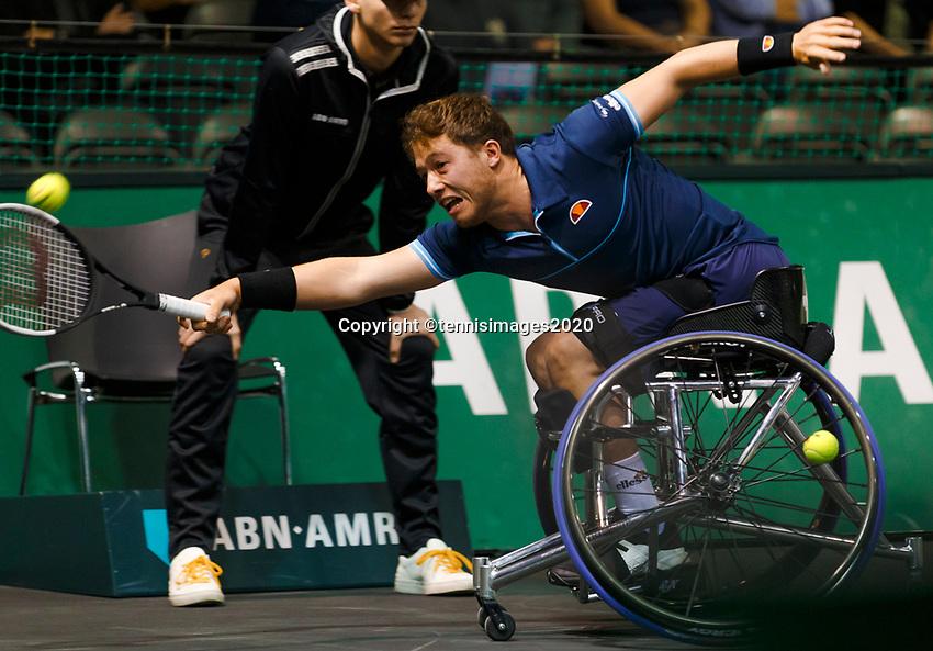 Rotterdam, The Netherlands, 15 Februari 2020, ABNAMRO World Tennis Tournament, Ahoy, <br /> Wheelchair: Final. Alfie Hewett (GBR).<br /> Photo: www.tennisimages.com