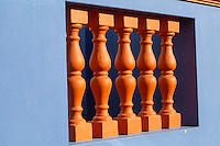 South Africa, Cape Town, Bo-kaap.  Front Porch Spindle Decoration.