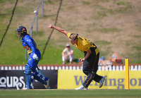 Wellington's Sophie Devine bowls past Hayley Jensen during the Hallyburton Johnstone Shield women's cricket match between Wellington Blaze and Otago Sparks at the Basin Reserve in Wellington, New Zealand on Sunday, 14 March 2021. Photo: Dave Lintott / lintottphoto.co.nz