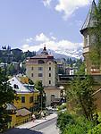 Oesterreich, Salzburger Land, Gasteiner Tal, Bad Gastein: Kurhotels vor den Hohen Tauern | Austria, Salzburger Land, Gasteiner Valley, Bad Gastein: hotels and Hohe Tauern mountains