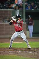 Billings Mustangs designated hitter Jay Schuyler (36) at bat during a Pioneer League game against the Idaho Falls Chukars at Melaleuca Field on August 22, 2018 in Idaho Falls, Idaho. The Idaho Falls Chukars defeated the Billings Mustangs by a score of 5-3. (Zachary Lucy/Four Seam Images)