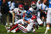 Arkansas defensive back Greg Brooks Jr. (9) blocks Ole Miss running back Snoop Conner (24), Saturday, October 9, 2021 during the third quarter of a football game at Vaught Hemingway Stadium in Oxford, Miss. Check out nwaonline.com/211010Daily/ for today's photo gallery. <br /> (NWA Democrat-Gazette/Charlie Kaijo)