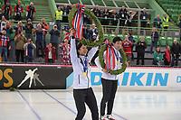 SPEEDSKATING: HAMAR: Vikingskipet, 29-02-2020, ISU World Speed Skating Championships, Sprint, World Champions, Miho Takagi (JPN), Tatsuya Shinhama (JPN), ©photo Martin de Jong