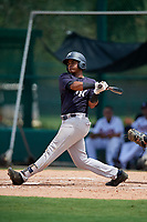 GCL Yankees West third baseman Jose Martinez (35) follows through on a swing during the second game of a doubleheader against the GCL Braves on July 30, 2018 at Champion Stadium in Kissimmee, Florida.  GCL Braves defeated GCL Yankees West 5-4.  (Mike Janes/Four Seam Images)