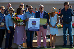 DEL MAR, CA  JULY 27: #3 Cistron, ridden by Victor Espinoza,and connections in the winners circle after winning the Bing Crosby Stakes (Grade l) a Breeders' Cup Win and You're In Sprint Division, on July 27, 2019 at Del Mar Thoroughbred Club in Del Mar, CA. (Photo by Casey Phillips/Eclipse Sportswire/CSM)