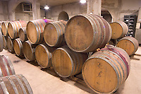Oak barrel aging and fermentation cellar. Domaine Gauby, Calces, roussillon, France