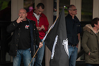 Saturday 05 April 2014<br /> Pictured: National Front supporters outside a pub in Swansea<br /> Re: White Pride and Anti Fascist groups protest in Swansea City Cebtre