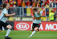 20170720 - BREDA , NETHERLANDS : Belgian Tessa Wullaert pictured celebrating after Belgium is taking the lead with 0-1 during the female soccer game between Norway and the Belgian Red Flames  , the second game in group A at the Women's Euro 2017 , European Championship in The Netherlands 2017 , both teams lost their first game , thursday 20 th June 2017 at Stadion Rat Verlegh in Breda , The Netherlands PHOTO SPORTPIX.BE   DAVID CATRY