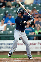 New Orleans Zephyrs outfielder Scott Cousins #5 at bat during the Pacific Coast League baseball game against the Round Rock Express on April 30, 2012 at The Dell Diamond in Round Rock, Texas. The Zephyrs defeated the Express 5-3. (Andrew Woolley / Four Seam Images)