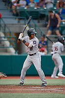 Tri-City ValleyCats Luis Guerrero (8) at bat during a NY-Penn League game against the Brooklyn Cyclones on August 17, 2019 at MCU Park in Brooklyn, New York.  Brooklyn defeated Tri-City 2-1.  (Mike Janes/Four Seam Images)