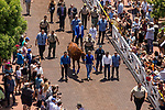 ARCADIA, CA - JUNE 23:  The 13th Triple Crown Champion, Justify parades for fans to see at Santa Anita Park on June 23, 2018 in Arcadia, California.(Photo by Alex Evers/Eclipse Sportswire/Getty Images)