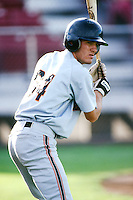 Mike Caruso of the Bellingham Giants before a 1996 baseball season game against the Everett AquaSox at Everett Memorial Stadium in Everett, Washington. (Larry Goren/Four Seam Images)