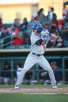 Zach McKinstry (9) of the Rancho Cucamonga Quakes bats against the Lancaster JetHawks at The Hanger on April 28, 2017 in Lancaster, California. Lancaster defeated Rancho Cucamonga, 16-10. (Larry Goren/Four Seam Images)