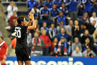 USWNT forward Abby Wambach says goodbye to the crowd.....USWNT played to a 1-1 tie with Canada at LIVESTRONG Sporting Park, Kansas City, Kansas.