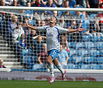 Iain Russell scores the second goal for QoS and celebrates