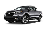 Stock pictures of low aggressive front three quarter view of 2018 Honda Ridgeline RTL-T 4 Door Pick-up Low Aggressive