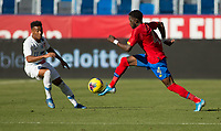 CARSON, CA - FEBRUARY 1: Keysher Fuller #4 of Costa Rica moves with the ball during a game between Costa Rica and USMNT at Dignity Health Sports Park on February 1, 2020 in Carson, California.