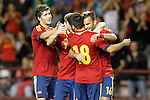 Spain's Sergi Roberto, Alberto Moreno, Carles Gil and Jese Rodriguez celebrate goal during international match of qualifying for Euro Under-21 2015.September 09,2013.(ALTERPHOTOS/Acero)