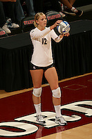 STANFORD, CA - DECEMBER 5:  Erin Waller of the Stanford Cardinal during Stanford's 3-0 win over Albany in the first round of the NCAA Division 1 Women's Volleyball Championships on December 5, 2008 at Maples Pavilion in Stanford, California.