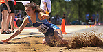 STURGIS, SD: MAY 25:  Sarah Keen of Rapid City Stevens in the long jump during the 2018 South Dakota State High School Track Meet at Woodle Field in Sturgis, S.D.  (Photo by Dick Carlson/Inertia)