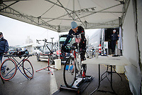 US Champion Katherine 'Katie' Compton (USA/Trek) warming up<br /> <br /> Zolder CX UCI World Cup 2014