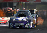 Apr 25, 2014; Baytown, TX, USA; NHRA funny car driver Jack Beckman during qualifying for the Spring Nationals at Royal Purple Raceway. Mandatory Credit: Mark J. Rebilas-