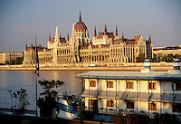 Hungarian House of Parliament faces the Danube River. Built in 1896-1904, patterned after Westminister in England. Budapest, Hungary