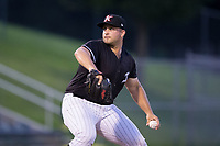 Kannapolis Intimidators relief pitcher Ryan Boelter (20) in action against the Hagerstown Suns at Kannapolis Intimidators Stadium on July 10, 2017 in Kannapolis, North Carolina.  The Suns defeated the Intimidators 8-5.  (Brian Westerholt/Four Seam Images)