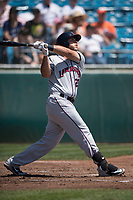 Lancaster JetHawks first baseman Roberto Ramos (22) follows through on his swing during a California League game against the San Jose Giants at San Jose Municipal Stadium on May 13, 2018 in San Jose, California. San Jose defeated Lancaster 3-0. (Zachary Lucy/Four Seam Images)