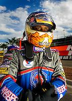 Oct. 31, 2008; Las Vegas, NV, USA: NHRA top fuel dragster driver Antron Brown during qualifying for the Las Vegas Nationals at The Strip in Las Vegas. Mandatory Credit: Mark J. Rebilas-