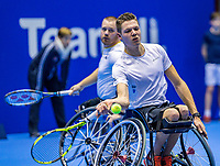Rotterdam, Netherlands, December 16, 2017, Topsportcentrum, Ned. Loterij NK Tennis, Wheelchair man's double final: Maikel Scheffers (L) and Ruben Spaargaren (NED)<br /> Photo: Tennisimages/Henk Koster