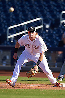 Peoria Javelinas Chad Wallach (22), of the Cincinnati Reds organization, stretches for a throw during a game against the Mesa Solar Sox on October 19, 2016 at Peoria Stadium in Peoria, Arizona.  Peoria defeated Mesa 2-1.  (Mike Janes/Four Seam Images)
