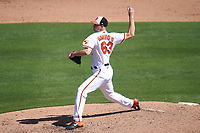 Baltimore Orioles pitcher Eric Hanhold (63) during a Major League Spring Training game against the Pittsburgh Pirates on February 28, 2021 at Ed Smith Stadium in Sarasota, Florida.  (Mike Janes/Four Seam Images)