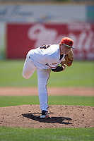 San Jose Giants starting pitcher Logan Webb (23) follows through on his delivery during a California League game against the Lancaster JetHawks at San Jose Municipal Stadium on May 13, 2018 in San Jose, California. San Jose defeated Lancaster 3-0. (Zachary Lucy/Four Seam Images)